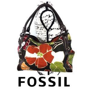 Fossil Canvas Leather Shoulder Bag